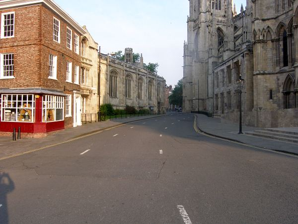 Looking past the south door of the Minster towards Duncombe Place and Bootham Bar..